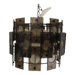 Mid Century Modern Black Acrylic Chandelier For Sale