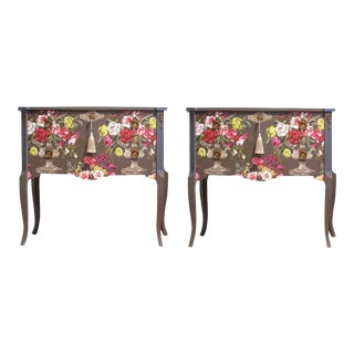1960s Gustavian Floral Commodes - a Pair For Sale