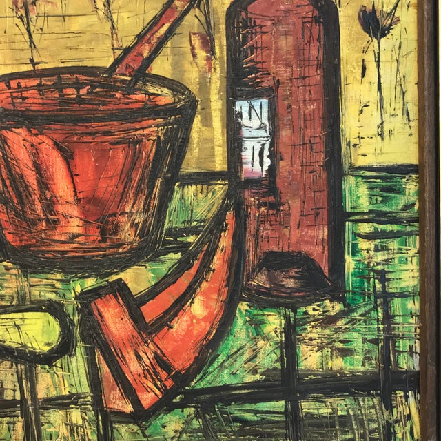 Mid Century French School Still Life, in the Manner of Bernard Buffet For Sale In Atlanta - Image 6 of 8