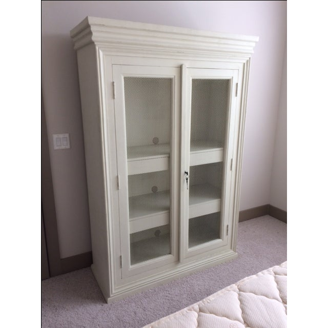Distressed Blanc d'Ivoire Painted Armoire - Image 3 of 3