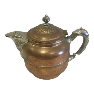 Vintage Copper Coffee Pot With Silver Details For Sale