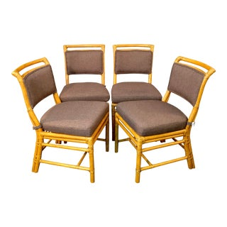 Mid-Century Modern McGuire Bamboo Dining Chairs - Set of 4 For Sale