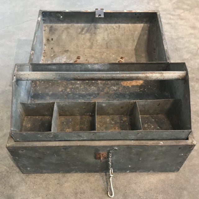 Industrial Vintage Metal Locking Tool Box For Sale - Image 3 of 5