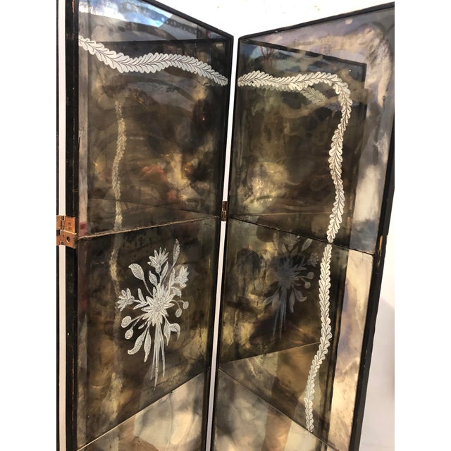 1950s Vintage Four Panel Mercury Mirror Folding Screen For Sale - Image 5 of 13