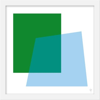 "Small ""Intersection Green and Blue"" Print by Wendy Concannon, 15"" X 15"" For Sale"
