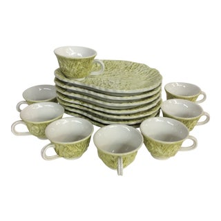 Mid Century Italian Majolica Cabbage Leaf Cups and Plates in Citrine - Set of 16 For Sale