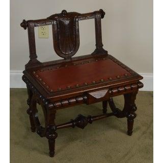 Geo. C. Flint & Co. Henry Bruner Antique Victorian Walnut Lift Top Bench Preview
