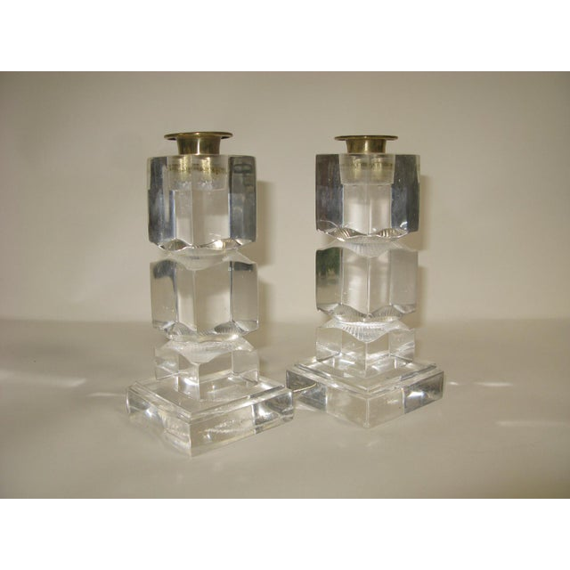 Transparent Vintage Lucite Candle Holders - a Pair For Sale - Image 8 of 8