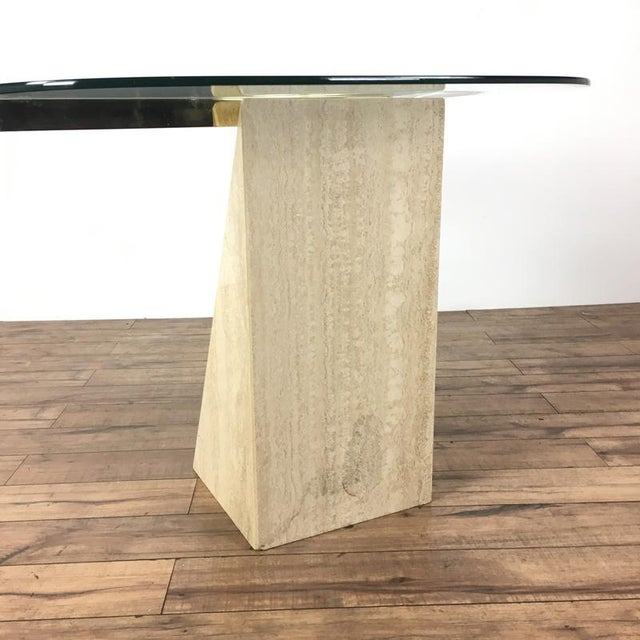 Mid-Century Modern Glass & Marble End Table For Sale - Image 4 of 6