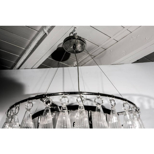 Italian Tassels Clear Murano Glass Chandelier on a Chrome Base For Sale - Image 3 of 8