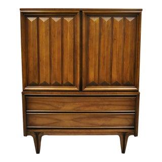 Vintage Mid Century Modern Sculpted Walnut V-Leg Tall Chest Dresser Cabinet For Sale