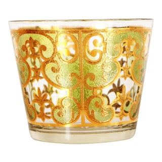 Vintage Mid Century Modern Gold Gilded Glass Cocktail Ice Bucket For Sale