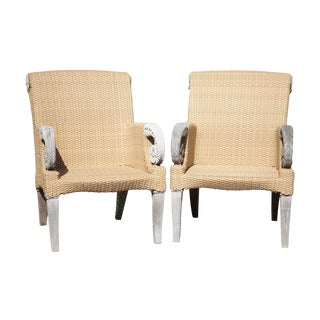 Brown Jordan Tommy Bahama Teak and Outdoor Wicker Pair Patio Armchairs (C) For Sale