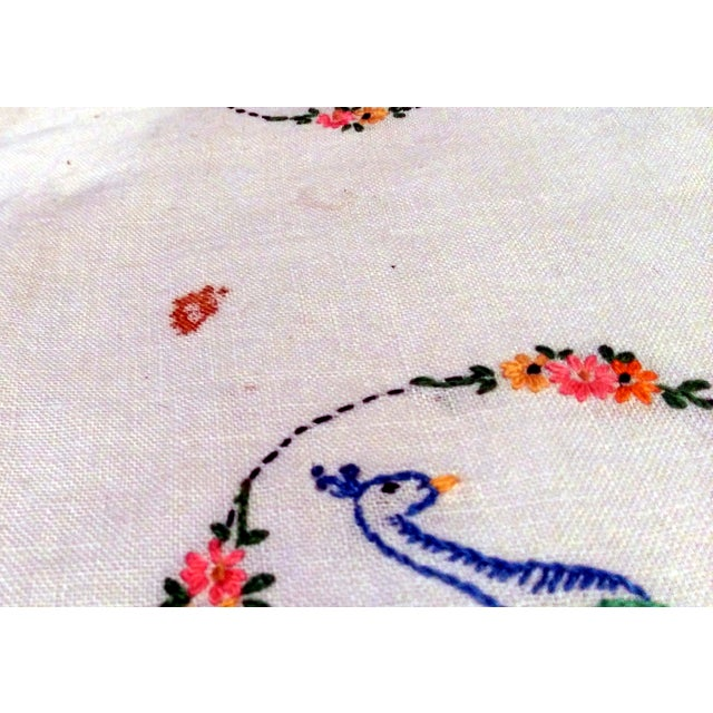 Vintage Peacock Embroidered Ecru Doilies - S/3 - Image 3 of 8