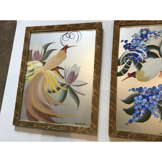 Mid-Century Modern Vintage 20th Century Egret Crane Bird Metallic Art Paintings Signed - a Pair, Framed For Sale - Image 3 of 9