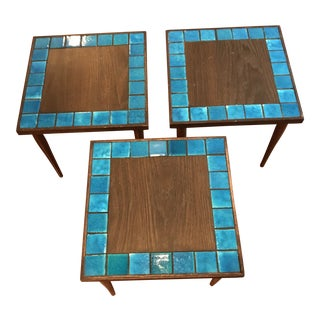 Mid-Century Modern Turquoise Tile Side Tables - Set of 3 For Sale