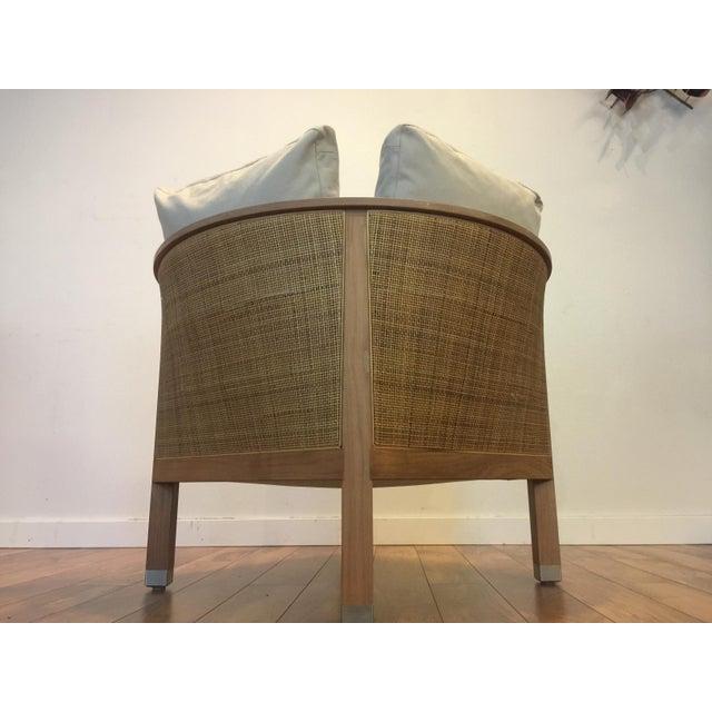 Italian Flexform Italian Wood & Wicker Rosetta Chair For Sale - Image 3 of 11