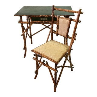 Campaign Style Bamboo Desk & Chair For Sale