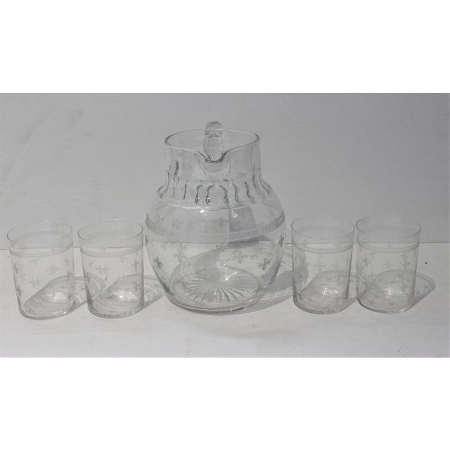 Vintage Fleur De Lis Glass Pitcher and 4 Tumblers Iced Tea Lemonade - a Set For Sale In West Palm - Image 6 of 13