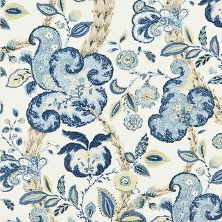 Scalamandre Cumbria Hand Block Print Fabic, China Blue Sample For Sale