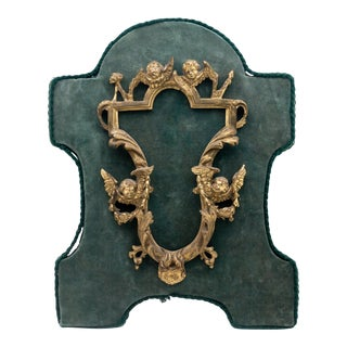 18th Century French Rococo Gilded Bronze Frame Mounted on Green Velvet For Sale