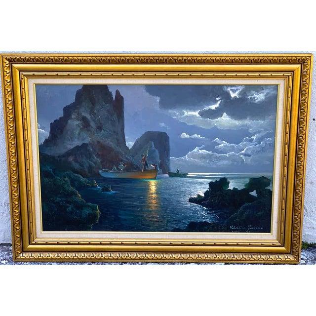 Canvas Evening Capri Seascape by Salvatore Federico, Italian, 20th Century For Sale - Image 7 of 11
