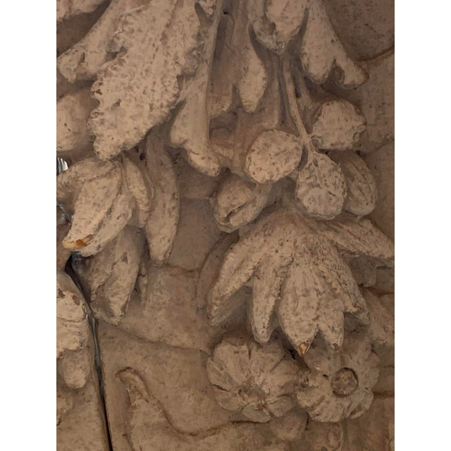 Stone 1990s Architectural Faux Limestone Frieze With Fruit and Garland Motif - Set of 3 For Sale - Image 7 of 11