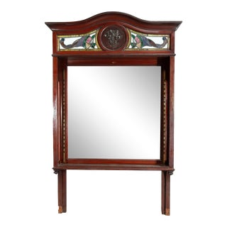 Antique Arts & Crafts Mahogany Mirrored Back Bar For Sale