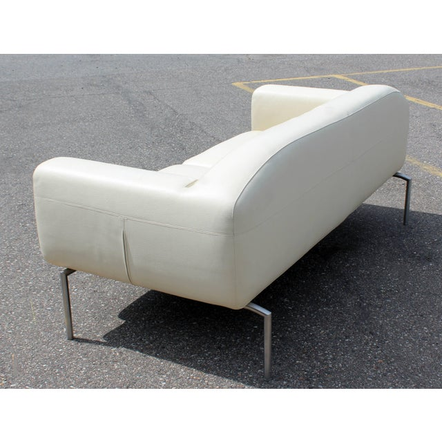 Contemporary Modern White Leather Sofa on Steel Frame B&b Minotti Style Italian For Sale In Detroit - Image 6 of 9