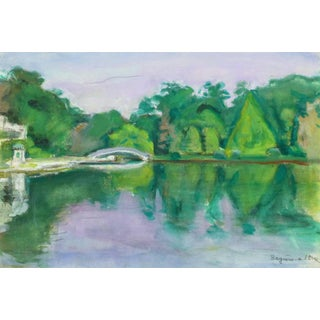Madeleine Scali, Vintage French Landscape Painting - View of River Orne in Normandy, France For Sale