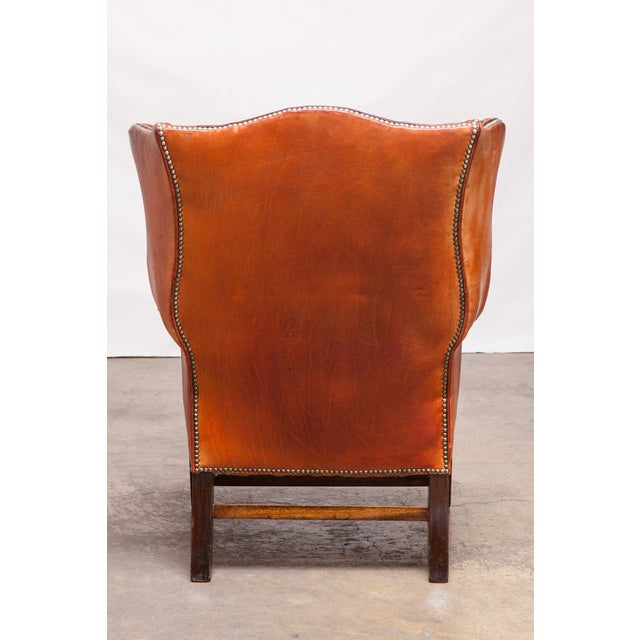 English Cigar Leather Tufted Wing Chairs - Pair - Image 4 of 10