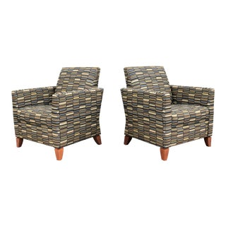 Modern Andrew Gower for David Edward Julie Multi Color Lounge Chairs - a Pair For Sale