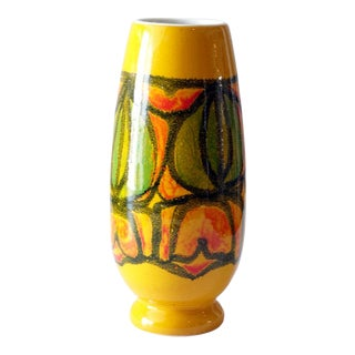 """1970s Poole Pottery England """"Delphis"""" Taller Yellow Vase For Sale"""