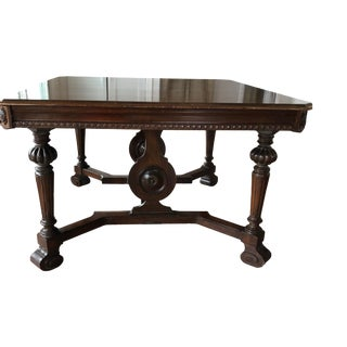Vintage Renaissance Style Wood Hand Carved Dining Table For Sale