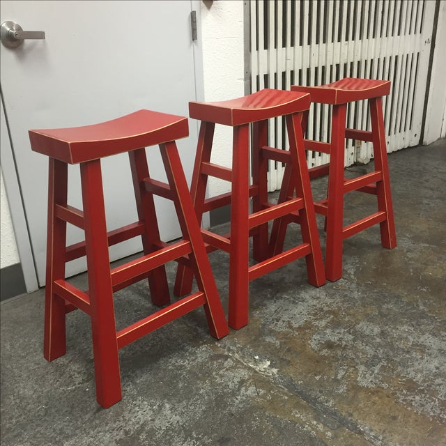 Red Solid Wood Stools - Set of 3 - Image 4 of 10