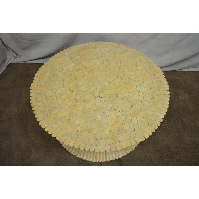 McGuire Style Mid Century Modern Round Wheat Sheaf Rattan Coffee Table - Image 7 of 13