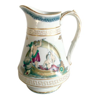 19th C. French Limoges Greek Key Porcelain Pitcher