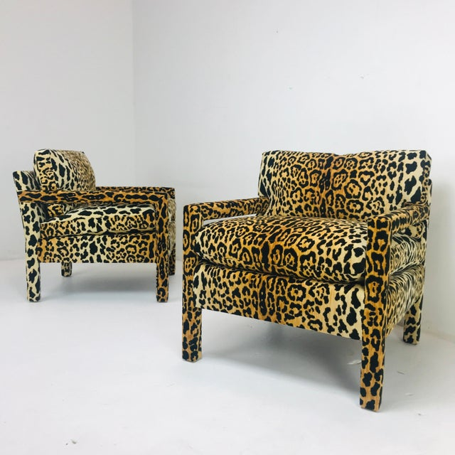 Textile Pair of Leopard Parson Chairs in the Style of Milo Baughman, Custom For Sale - Image 7 of 13