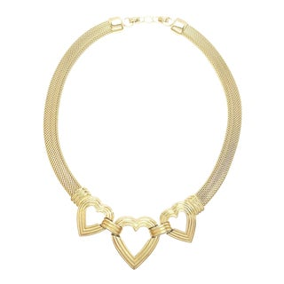Gold Plated Omega Choker With Hearts Motif by Dior For Sale