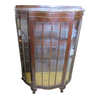Antique Bedford Northampton England Bow Front Glass Curio Cabinet For Sale
