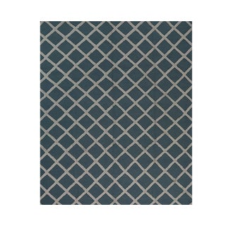Contemporary Handwoven Blue and Ivory Wool Rug - 8x10