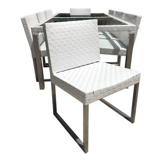 "$9k Modern Tidelli ""Cubo"" Indoor/Outdoor Matte Aluminum & White Woven Vinyl Dining Table With 8 Chairs - a Set For Sale"