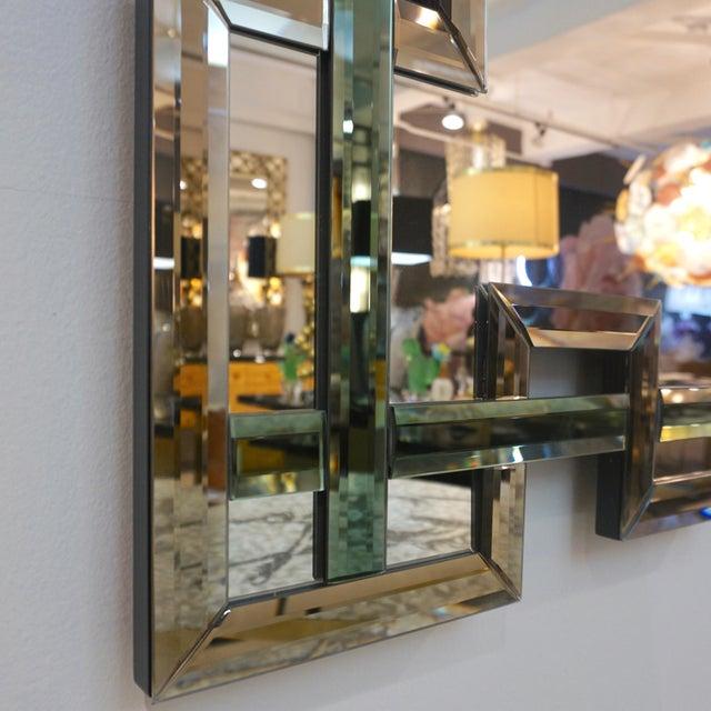 Contemporary Contemporary Italian Geometric Murano Glass Mirror With Aqua Green Ribbon For Sale - Image 3 of 13