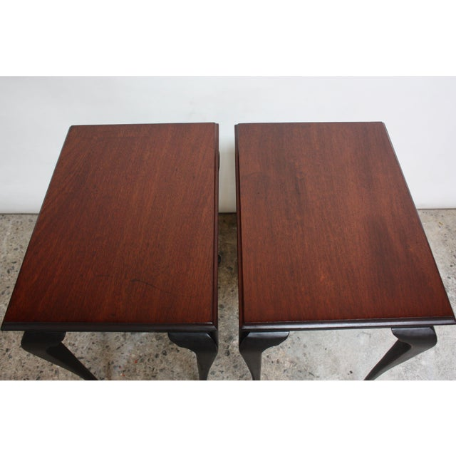 Mahogany Pair of Mahogany and Ebonized Walnut Chippendale-Style Tall End Tables For Sale - Image 7 of 13