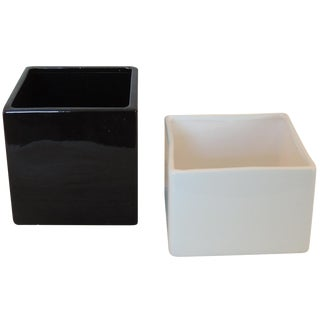 Black and White Modern Planters - A Pair