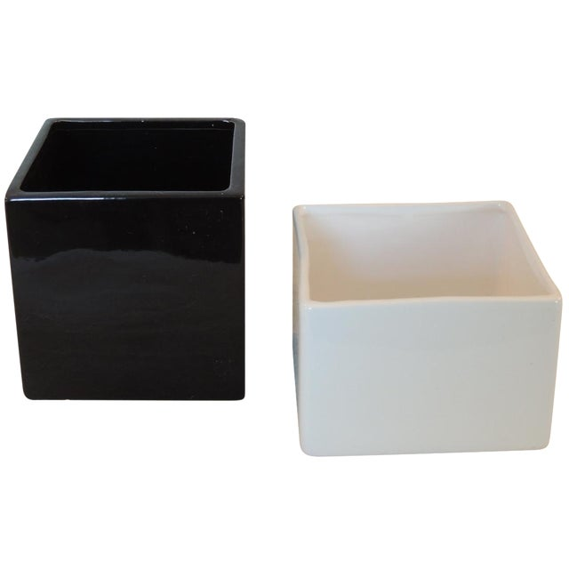Black and White Modern Planters - A Pair - Image 1 of 3