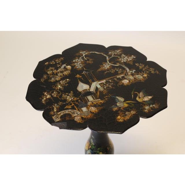 Black Victorian Papier Mache Side Table For Sale - Image 8 of 9