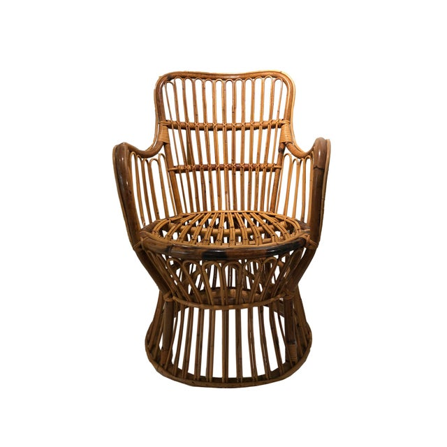 Vintage Coastal Rattan Chair With New Upholstered Cushion For Sale - Image 4 of 7