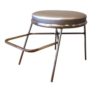 Mid-Century Steel Shoe Fitting Stool With Footrest For Sale