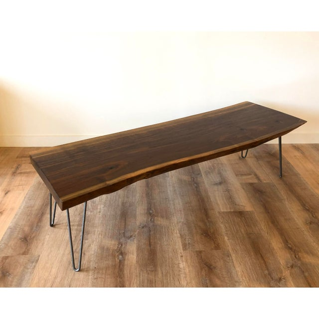 Modern Raw Edge Slab Coffee Table With Hair Pin Legs For Sale - Image 9 of 11
